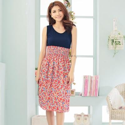 La Belleza紅色花圓點拼接背心縮腰滑布長洋裝