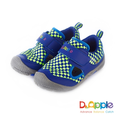 Dr. Apple 機能童鞋 跳色交織方格休閒涼鞋款  藍