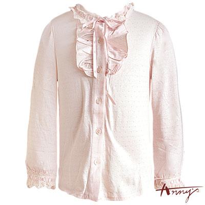 Anny甜美浪漫荷葉高領單排釦長袖上衣*4268粉