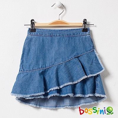 bossini女童-牛仔褲裙靛藍