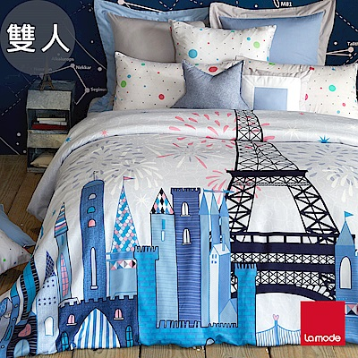 La mode寢飾 城市派對100%萊賽爾天絲被套床包組(雙人)