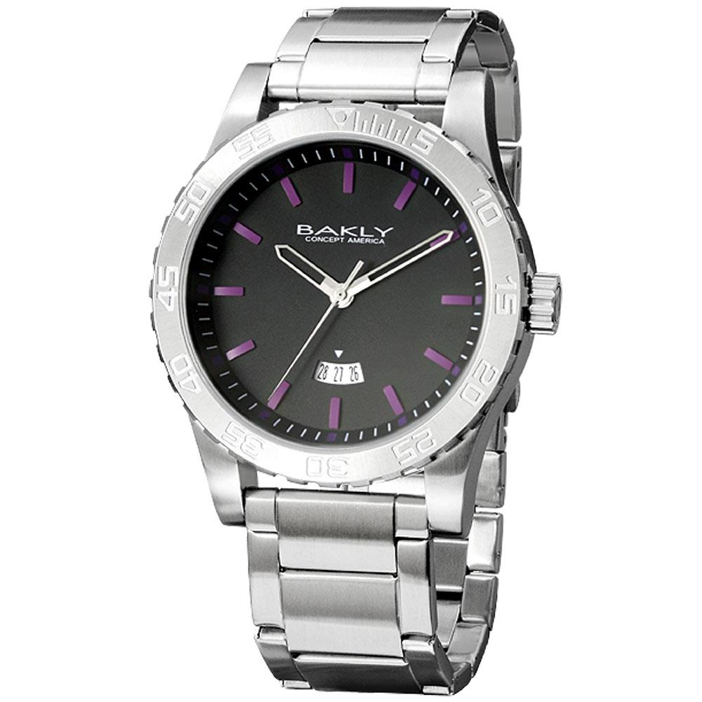 BAKLY 撼動系列軍武最前線日期腕錶-黑x紫時標/44mm