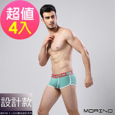 男內褲 設計師聯名-型男競速運動平口褲 綠(超值4入組)MORINOxLUCAS