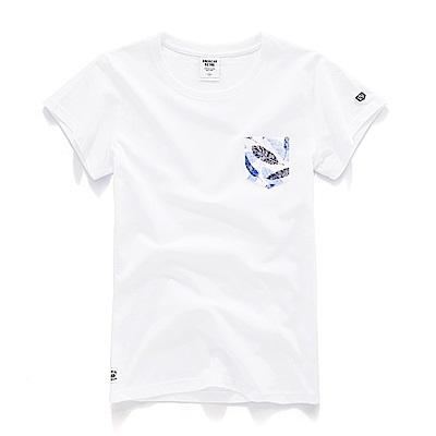 CACO-彩羽口袋短T-情侶款-女-PAR104