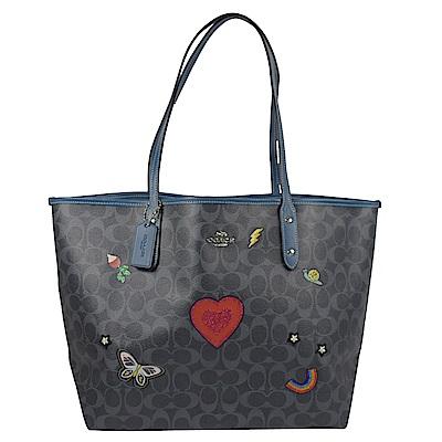 COACH 金屬LOGO 刺繡圖樣PVC托特包(灰藍)