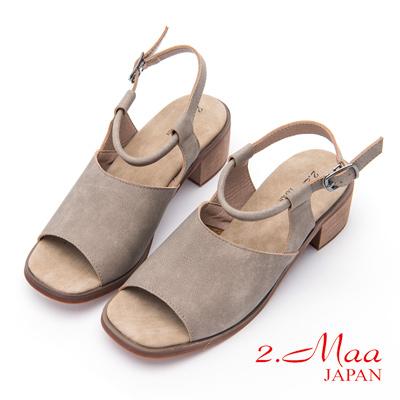 2.Maa-摩登復古磨砂牛皮粗跟涼鞋-米