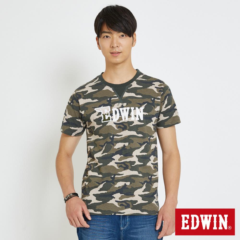 EDWIN 滿版迷彩LOGOT恤-男-橄欖綠
