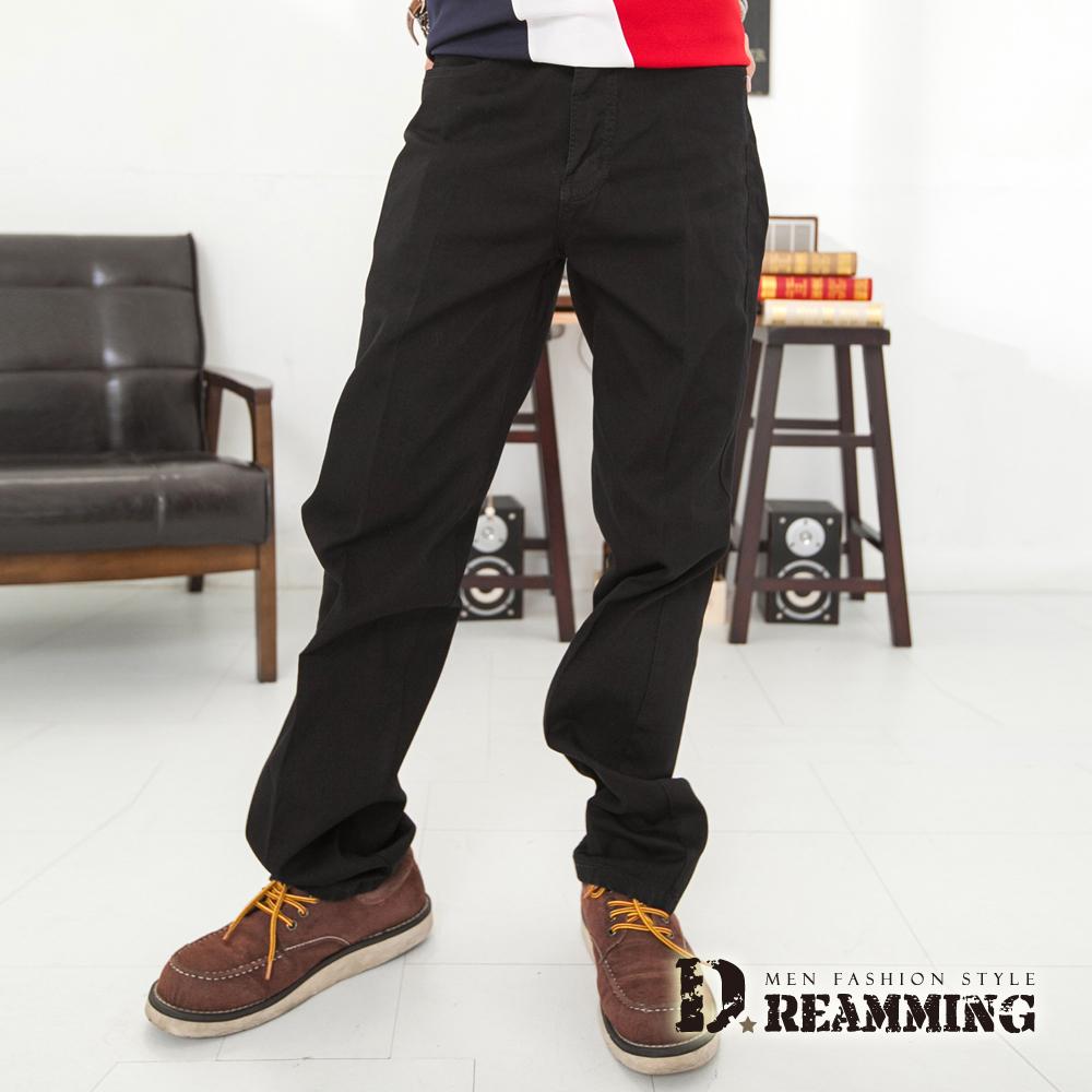 Dreamming 韓版斜紋布伸縮中直筒褲-黑色