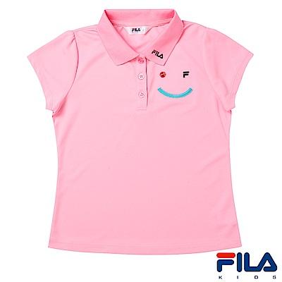 FILA KIDS #FUN開心吸濕排汗POLO衫-粉紅5POS-4425-PK