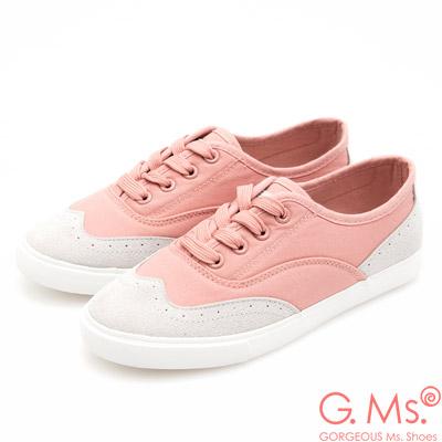 G.Ms. 牛津雕花沖孔綁帶帆布休閒鞋-粉色