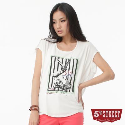 5th STREET T恤 斑馬印圖氣球T恤-女-白色