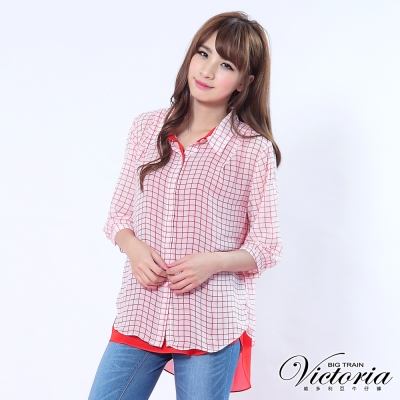 Victoria 四方小格兩件式雪紡襯衫-女-紅色