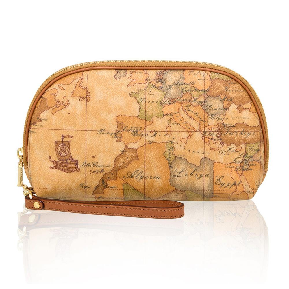 Alviero Martini 義大利地圖包 手拿零錢化妝包(大)-地圖黃