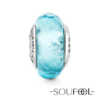SOUFEEL索菲爾 925純銀珠飾 海藍冰晶 琉璃珠