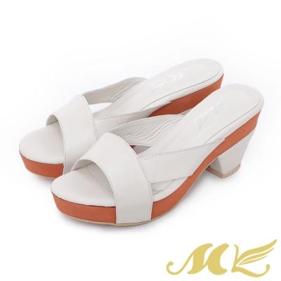 MK-台灣全真皮-經典雙弧厚底拖鞋-米色