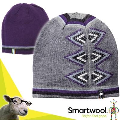 【SmartWool】女 Ski Jacqua 美麗諾羊毛 雙面可戴緹花小圓帽/炭灰