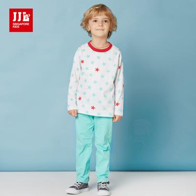 JJLKIDS 閃亮星星純棉休閒套裝(白色)