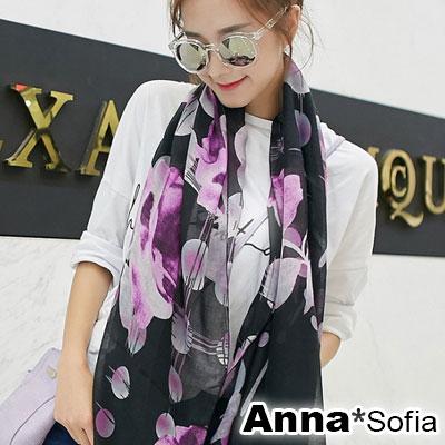 AnnaSofia-圈映月夜-拷克邊韓國棉圍巾披肩-黑粉系