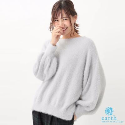 earth music 素面袖縮口針織毛衣/上衣