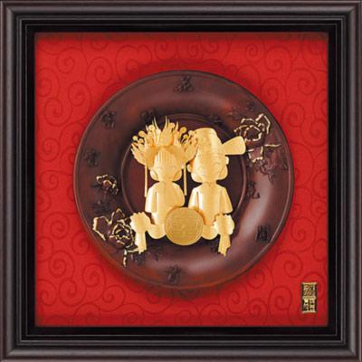 雅鑑鑫品金箔畫圓盤系列(大)百年好合 雙喜娃娃-28x28cm