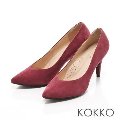 KOKKO-經典尖頭麂皮高跟鞋-葛酒紅