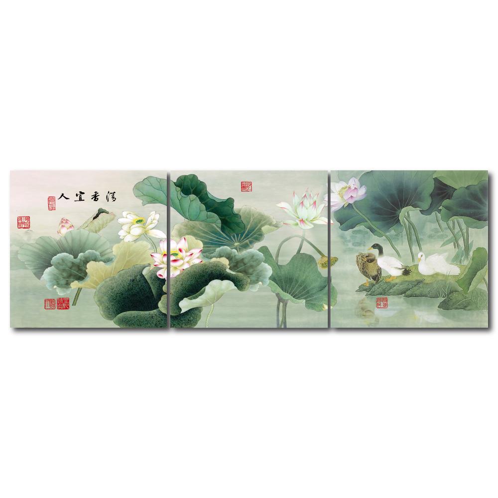 橙品油畫布- 三聯無框圖畫藝術家飾品 -  清香宜人40*40cm