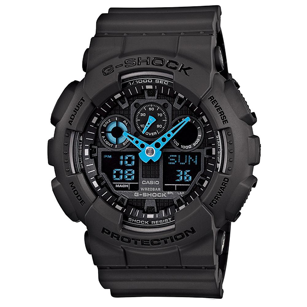 G-SHOCK 搶眼跳色重型機械感Man抗磁運動錶-灰X藍/52mm