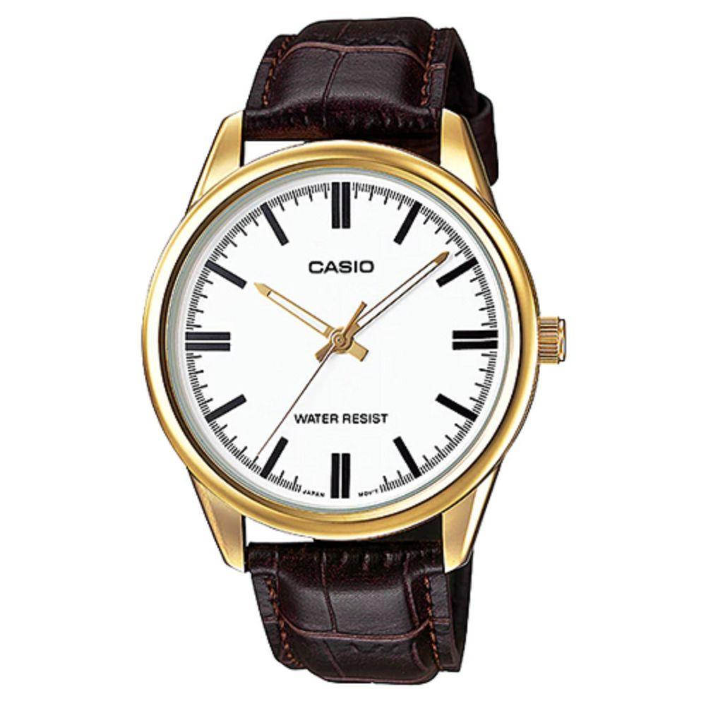 CASIO 經典復古金時尚簡約指針腕錶-金框X白面(MTP-V005GL-7A)/42mm