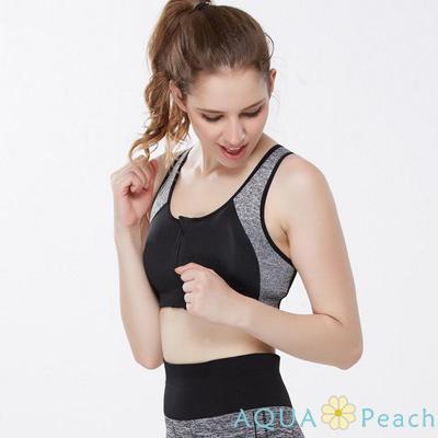 運動內衣 前拉鏈雙色拼接挖背背心 (黑色)-AQUA Peach