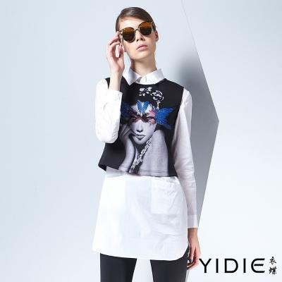 YIDIE衣蝶-領片人物襯衫式棉質長版上衣