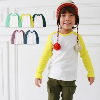 baby童衣 兒童長袖男女圓領T恤 純棉撞色插肩袖50532