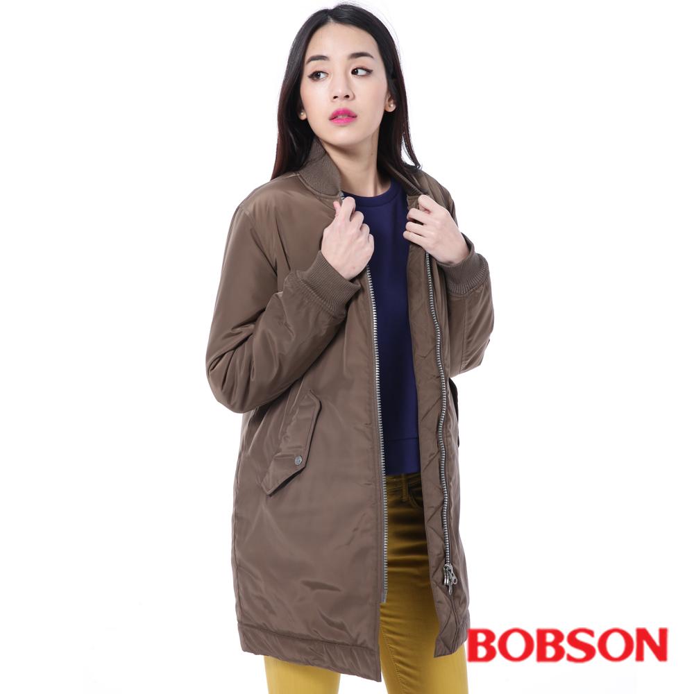 BOBSON  女款長版鋪棉棒球外套