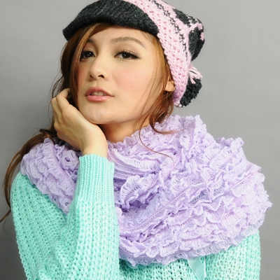 Aimee Toff 花紙開盛立體鮮豔圍脖(紫)