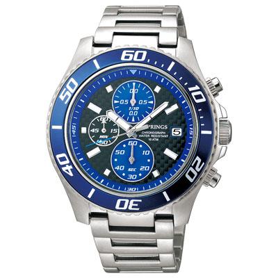 J.SPRINGS系列  跨時代三眼計時時尚腕錶-藍X銀/43mm