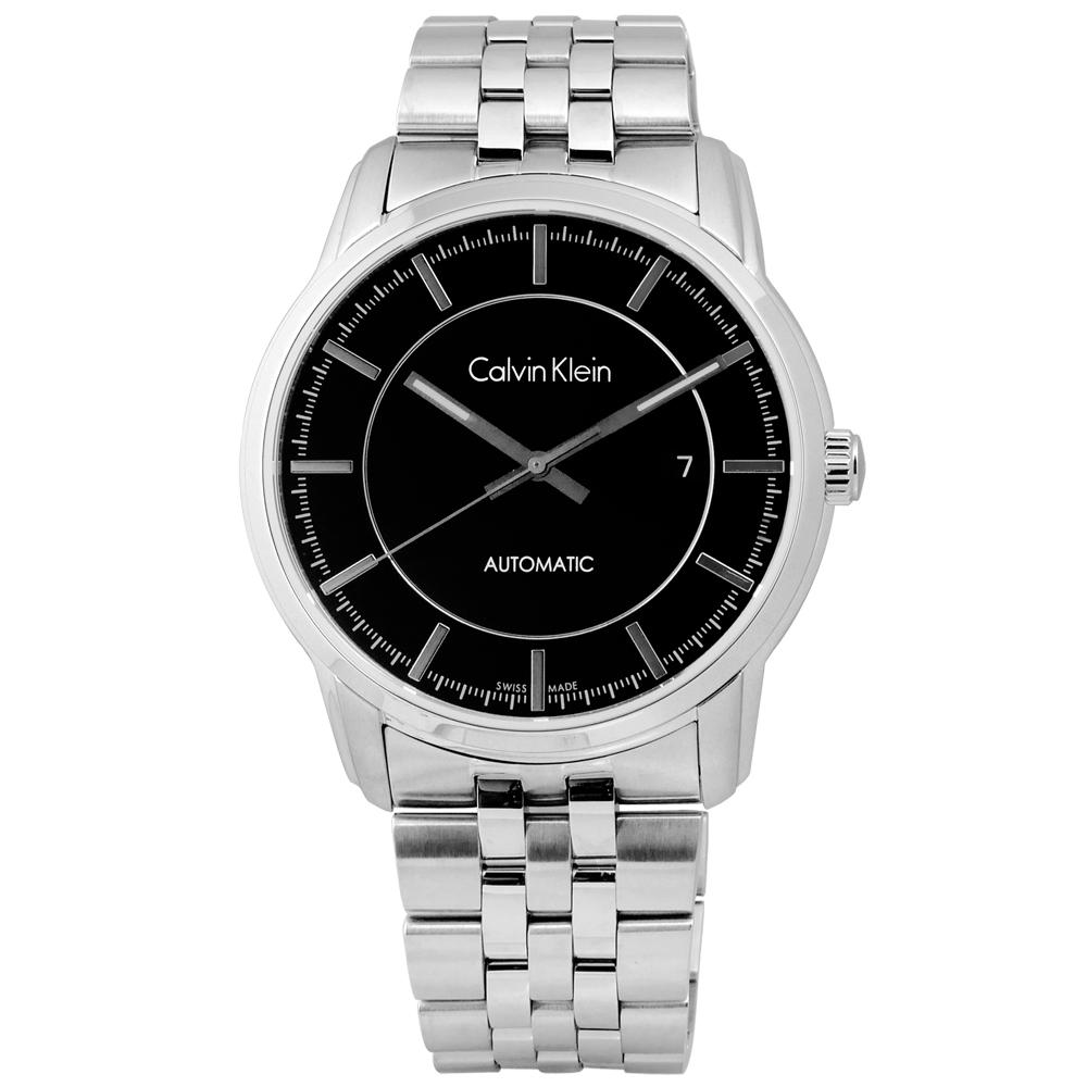 CK 卓越自信不鏽鋼機械腕錶-黑色/42mm