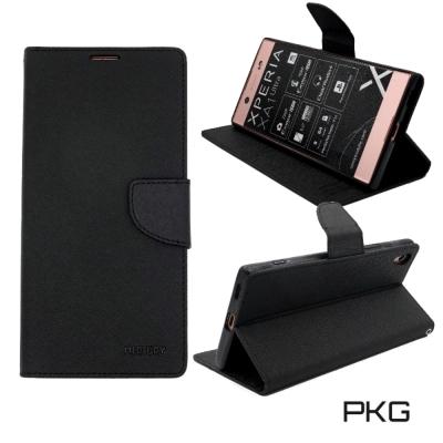 PKG SONY XA1-Ultra 側翻式皮套-潑水紋表層(黑)