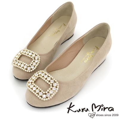 Kuru-Mira台灣製-閃亮方釦水鑽楔型跟鞋-杏