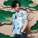 BIG TRAIN 堂獅印花短袖襯衫-男-漂白
