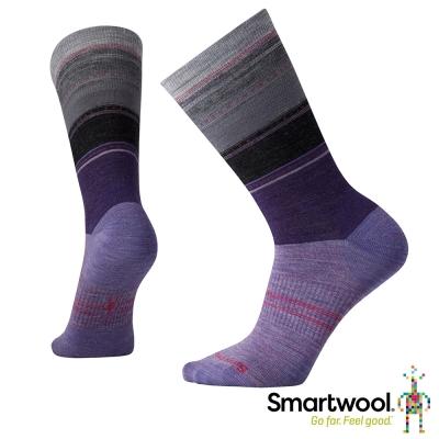 SmartWool 女蘇拉威西條紋中長襪 薰衣草紫