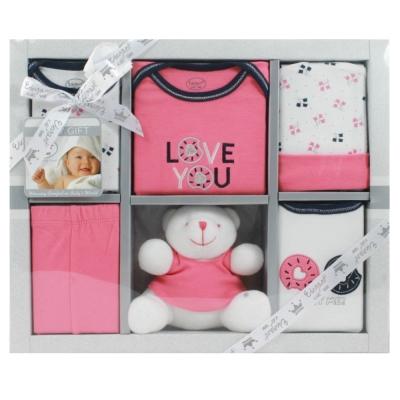 美國Elegant kids彌月禮盒-衣褲小熊6件式禮盒