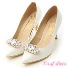 D+AF 幸福典藏.華麗寶石釦飾美形高跟鞋*白