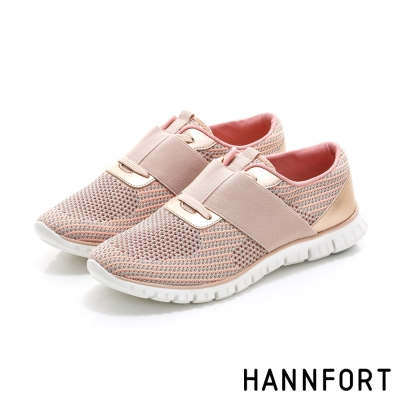HANNFORT ZERO GRAVITY編織彈性帶氣墊鞋-女-斜紋粉