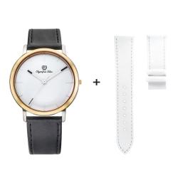 Olympia Star 奧林比亞之星 玩色時尚腕錶-白/40mm(贈白皮錶帶)