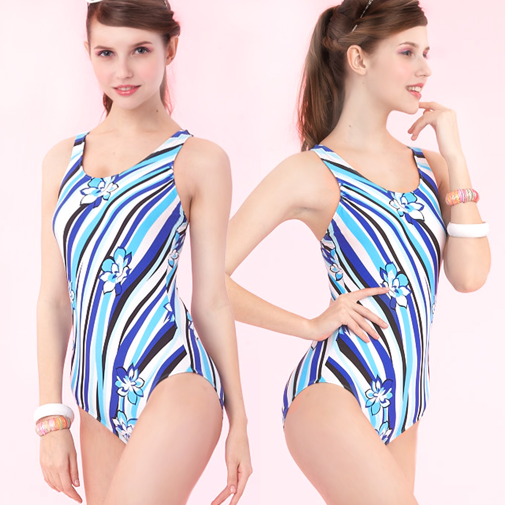 連身式泳裝 挖背三角競泳款 (藍色系印花條紋圖騰M-L) TiNyHouSe