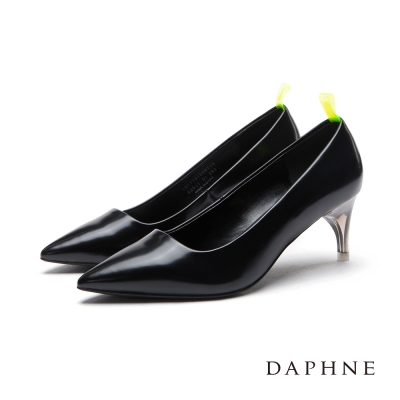 達芙妮DAPHNE 高跟鞋-螢光後拉帶透明鞋跟尖頭鞋-黑