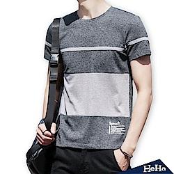 條紋撞色刺繡短袖T恤 三色-HeHa