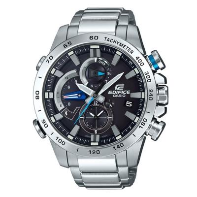 EDIFICE動感技術藍牙傳輸賽車運動錶(EQB-800D-1)黑面x藍秒針49.2mm