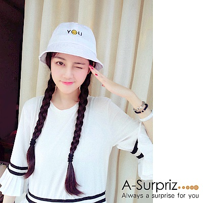 A-Surpriz 笑臉YOU刺繡漁夫帽(白)