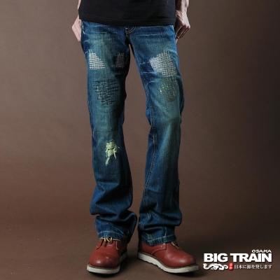BIG TRAIN-打釘配皮繡花靴型褲-中藍