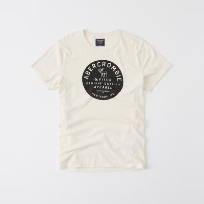 A&F 經典圖案印刷短袖T恤-米白色 AF Abercrombie